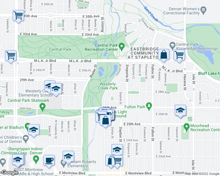 map of restaurants, bars, coffee shops, grocery stores, and more near 2790 Clinton Street in Denver