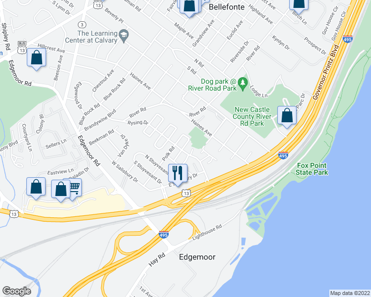 map of restaurants, bars, coffee shops, grocery stores, and more near 57 North Rodney Drive in Wilmington