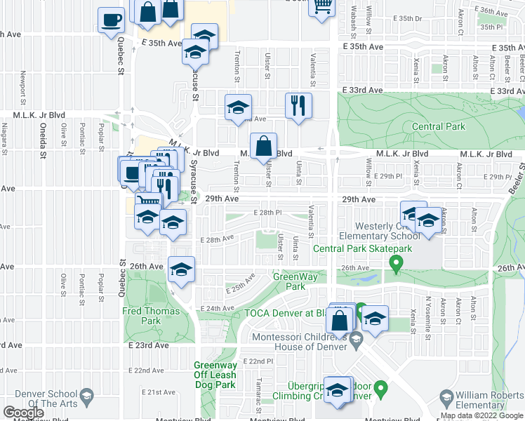 map of restaurants, bars, coffee shops, grocery stores, and more near 8089 East 28th Place in Denver