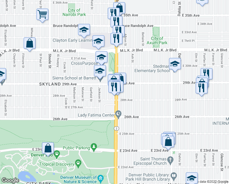 map of restaurants, bars, coffee shops, grocery stores, and more near 2845 Colorado Boulevard in Denver