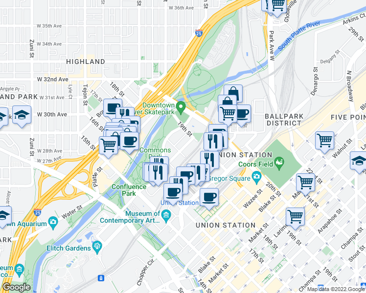 map of restaurants, bars, coffee shops, grocery stores, and more near 1801 Bassett Street in Denver