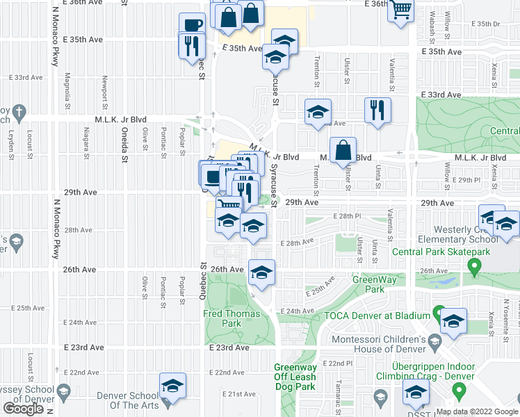 map of restaurants, bars, coffee shops, grocery stores, and more near 7592 East 29th Avenue in Denver
