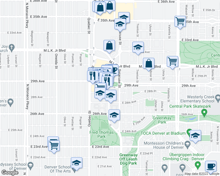 map of restaurants, bars, coffee shops, grocery stores, and more near 7592 E 29th Ave in Denver