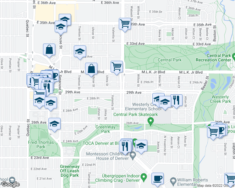 map of restaurants, bars, coffee shops, grocery stores, and more near 8360 East 29th Avenue in Denver