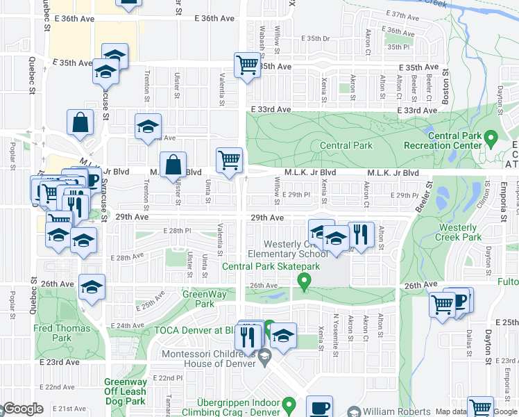 map of restaurants, bars, coffee shops, grocery stores, and more near 8481 East 29th Avenue in Denver