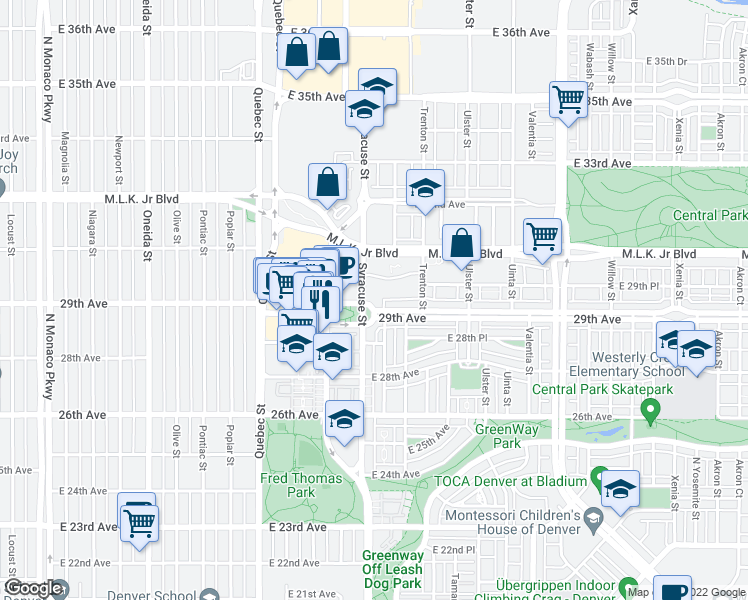 map of restaurants, bars, coffee shops, grocery stores, and more near 2958 Syracuse Street in Denver
