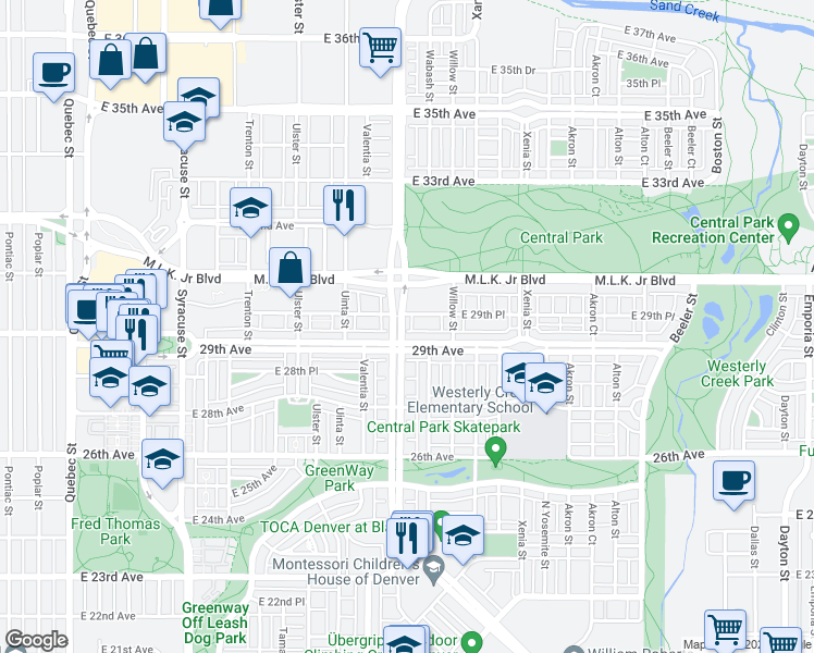 map of restaurants, bars, coffee shops, grocery stores, and more near 2938 Central Park Blvd in Denver