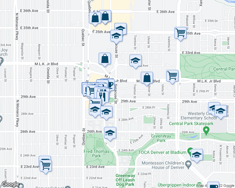 map of restaurants, bars, coffee shops, grocery stores, and more near 7575 East 29th Place in Denver