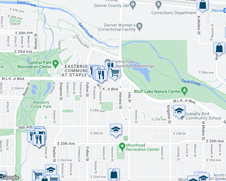 map of restaurants, bars, coffee shops, grocery stores, and more near 10404 East 29th Drive in Denver