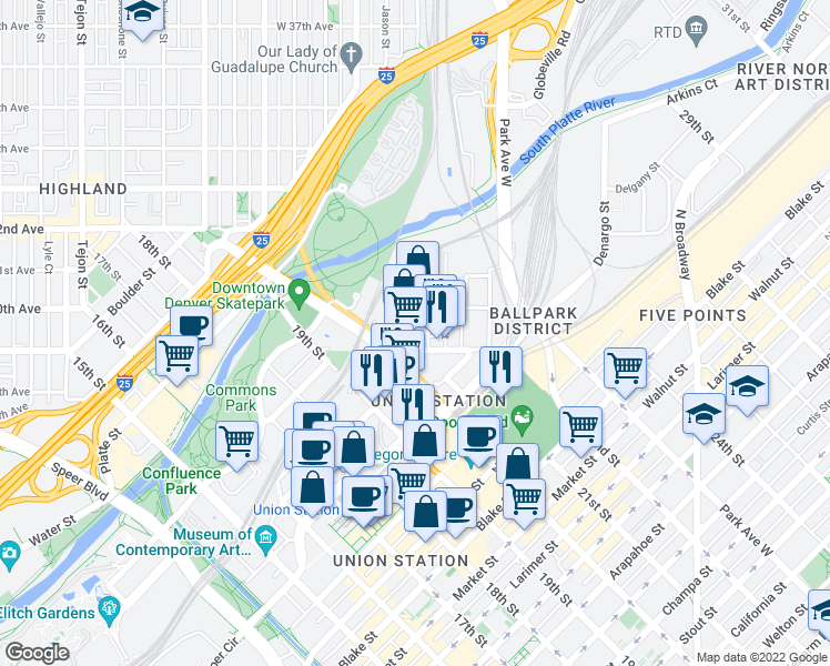 map of restaurants, bars, coffee shops, grocery stores, and more near 2900 Inca Street in Denver