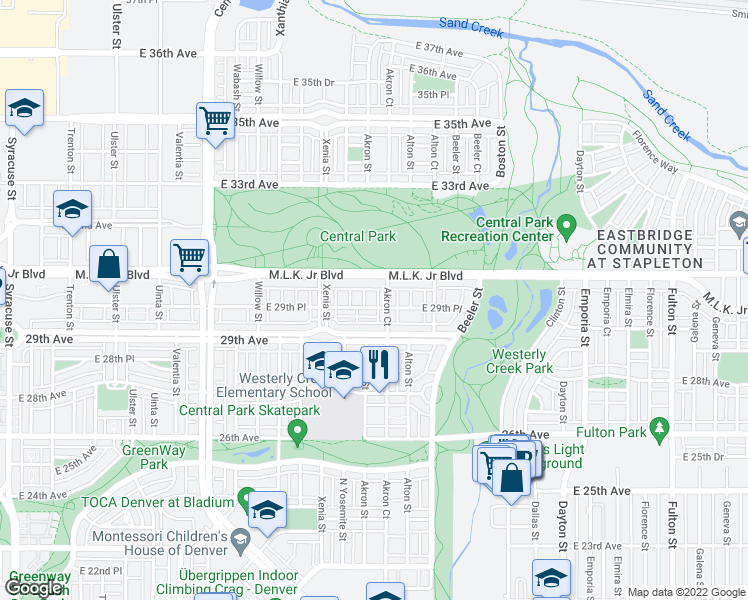 map of restaurants, bars, coffee shops, grocery stores, and more near 8993 East 29th Place in Denver