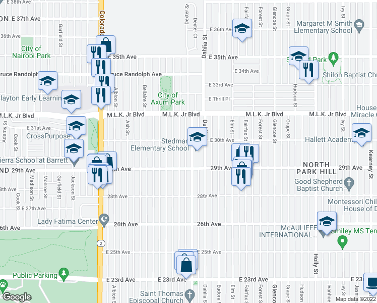 map of restaurants, bars, coffee shops, grocery stores, and more near 2959 Dexter Street in Denver