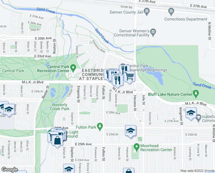 map of restaurants, bars, coffee shops, grocery stores, and more near 10134 East 29th Drive in Denver