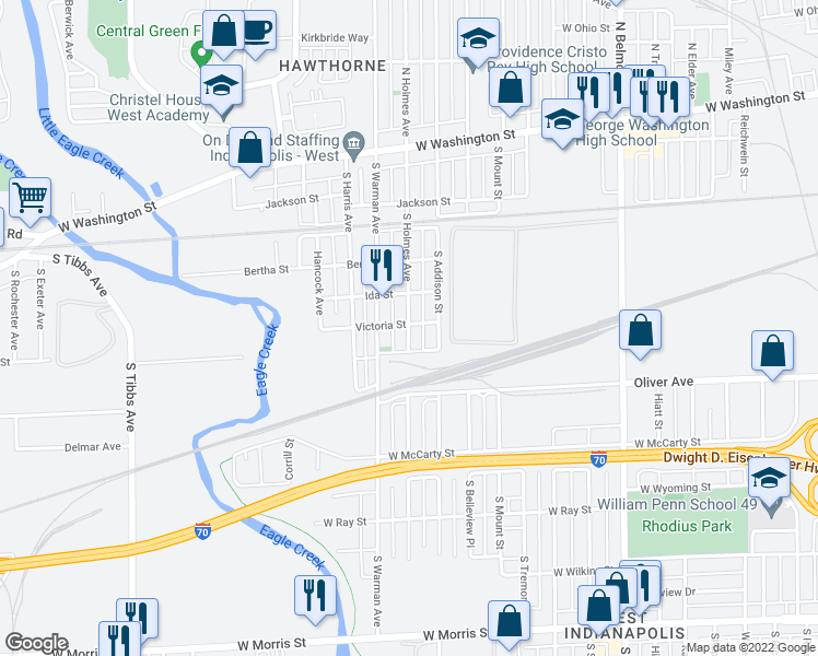 map of restaurants, bars, coffee shops, grocery stores, and more near 421 South Holmes Avenue in Indianapolis