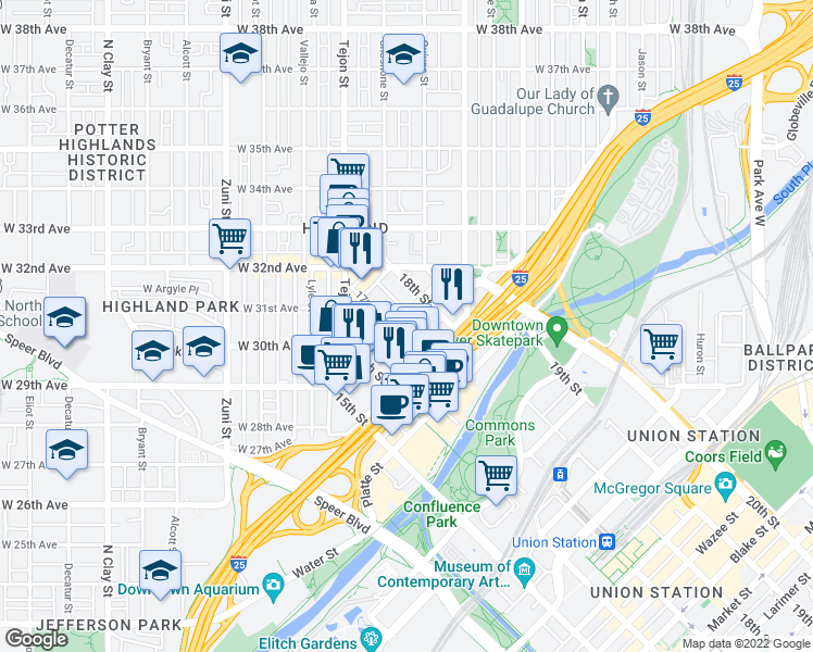map of restaurants, bars, coffee shops, grocery stores, and more near 2555 17th Street in Denver