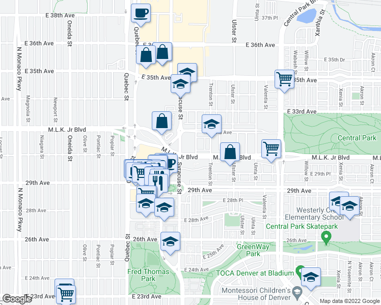 map of restaurants, bars, coffee shops, grocery stores, and more near Martin Luther King Junior Boulevard in Denver