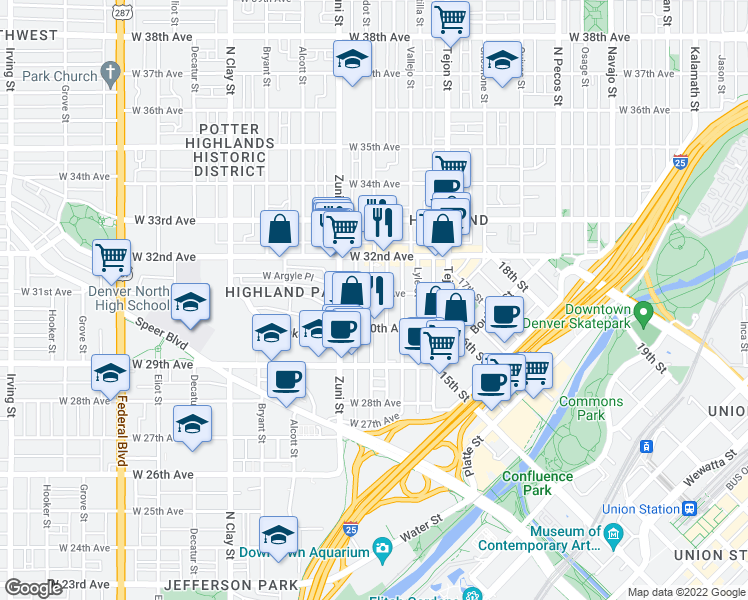 map of restaurants, bars, coffee shops, grocery stores, and more near 3050 Wyandot Street in Denver