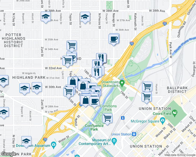 map of restaurants, bars, coffee shops, grocery stores, and more near 2525 18th Street in Denver
