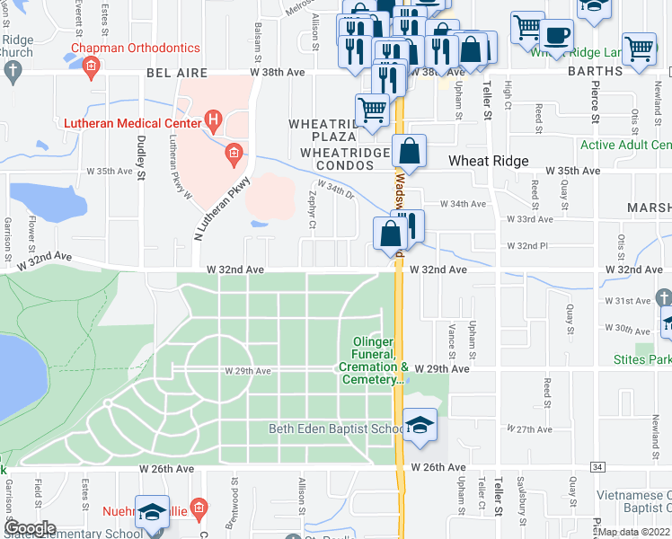 map of restaurants, bars, coffee shops, grocery stores, and more near W 32nd Ave & Yarrow Ct in Wheat Ridge