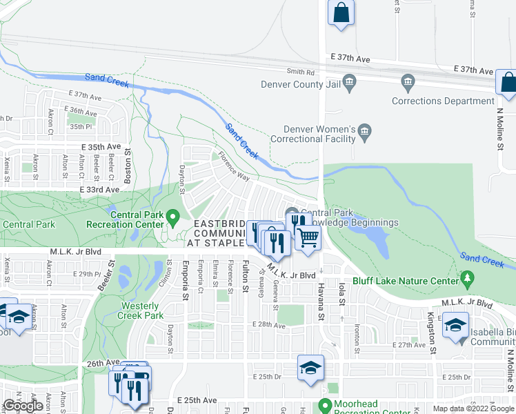 map of restaurants, bars, coffee shops, grocery stores, and more near 3193 Galena Street in Denver