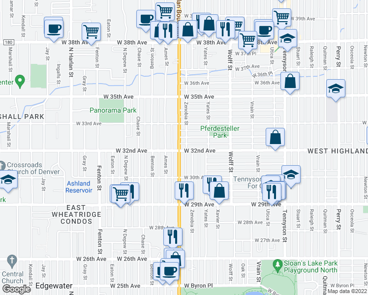 map of restaurants, bars, coffee shops, grocery stores, and more near 5101 West 32nd Avenue in Denver