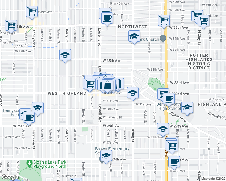 map of restaurants, bars, coffee shops, grocery stores, and more near 3426 West 32nd Avenue in Denver