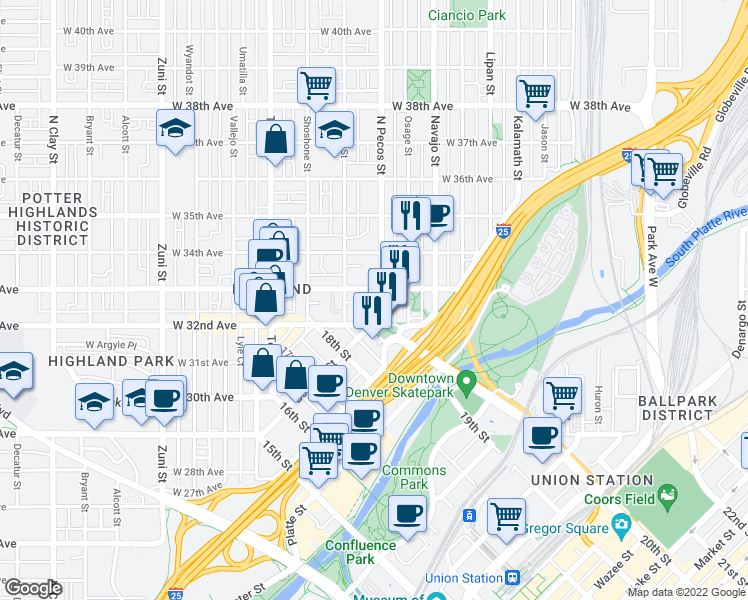 map of restaurants, bars, coffee shops, grocery stores, and more near 3241 North Pecos Street in Denver