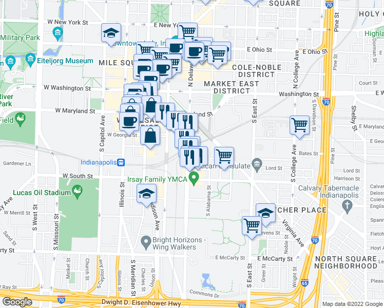 map of restaurants, bars, coffee shops, grocery stores, and more near 229 Delaware Street in Indianapolis