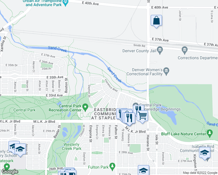 map of restaurants, bars, coffee shops, grocery stores, and more near 3455 Florence Way in Denver