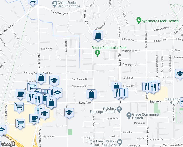 map of restaurants, bars, coffee shops, grocery stores, and more near 2679 Ceres Ave in Chico