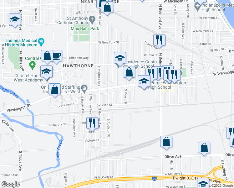 map of restaurants, bars, coffee shops, grocery stores, and more near 22 West Maryland Street in Indianapolis