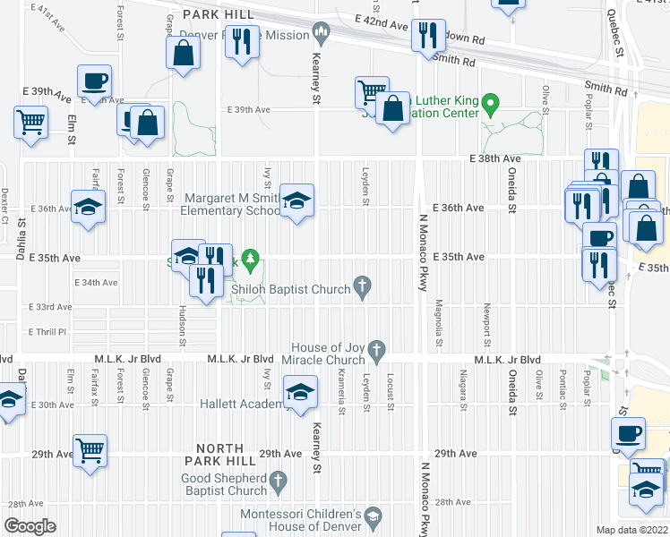 map of restaurants, bars, coffee shops, grocery stores, and more near 3377 Krameria Street in Denver