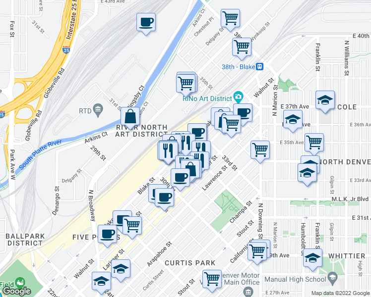 map of restaurants, bars, coffee shops, grocery stores, and more near 3198 Blake Street in Denver