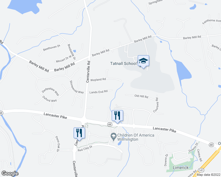 map of restaurants, bars, coffee shops, grocery stores, and more near 104-106 Lands End Road in Wilmington