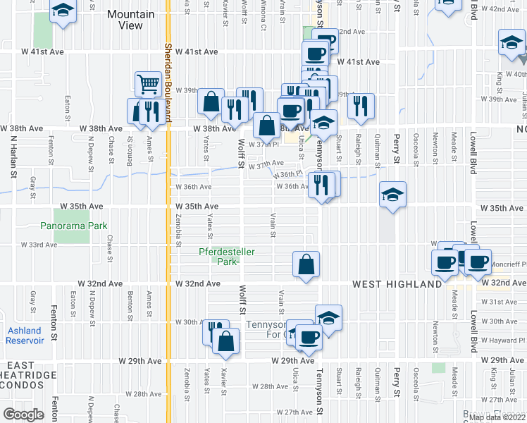map of restaurants, bars, coffee shops, grocery stores, and more near 4709 West 34th Avenue in Denver