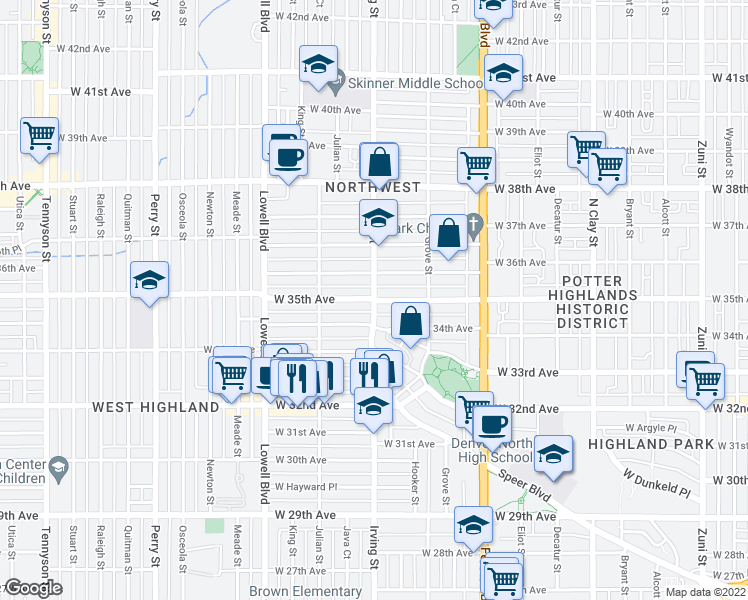map of restaurants, bars, coffee shops, grocery stores, and more near Irving Street & West 35th Avenue in Denver