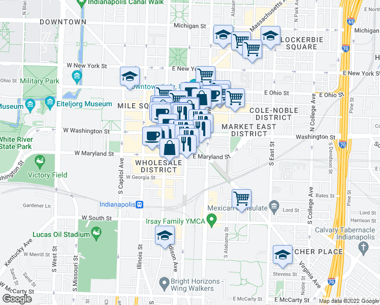 map of restaurants, bars, coffee shops, grocery stores, and more near 47 South Pennsylvania Street in Indianapolis