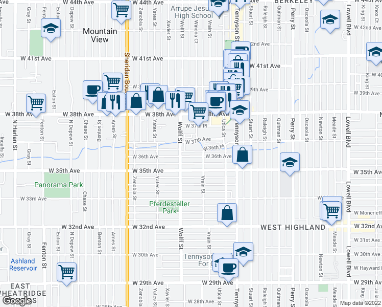 map of restaurants, bars, coffee shops, grocery stores, and more near 4701 West 36th Avenue in Denver