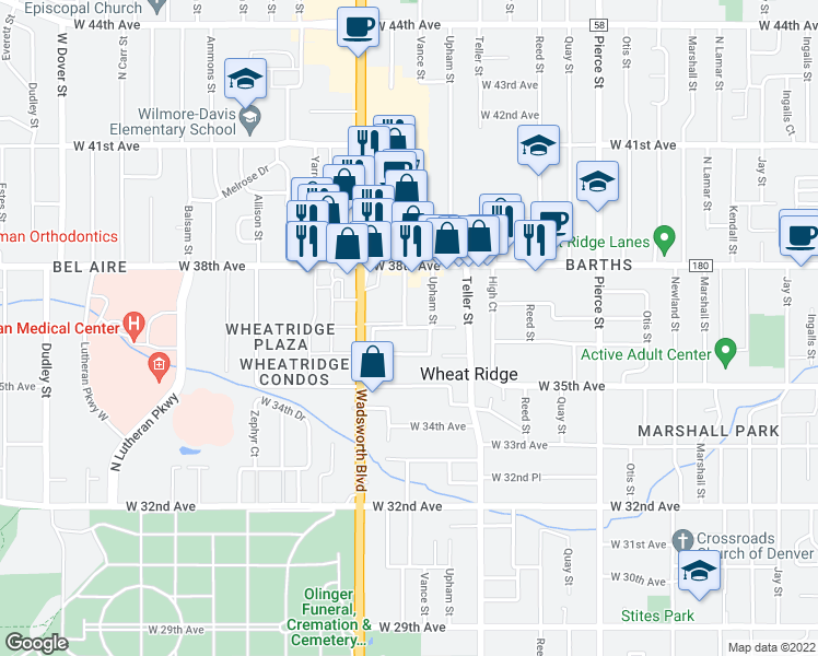 map of restaurants, bars, coffee shops, grocery stores, and more near 3724 Vance Street in Wheat Ridge
