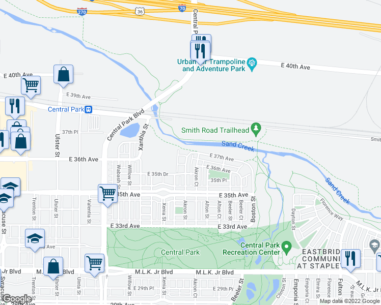 map of restaurants, bars, coffee shops, grocery stores, and more near 37th Ave in Denver