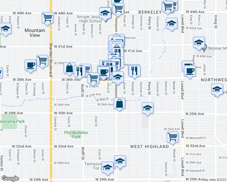 map of restaurants, bars, coffee shops, grocery stores, and more near 3755 Tennyson Street in Denver