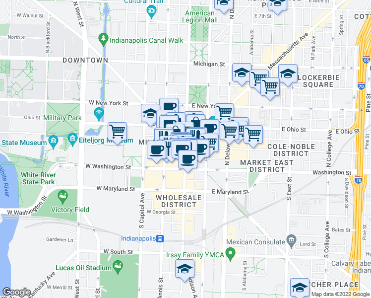 map of restaurants, bars, coffee shops, grocery stores, and more near  in Indianapolis