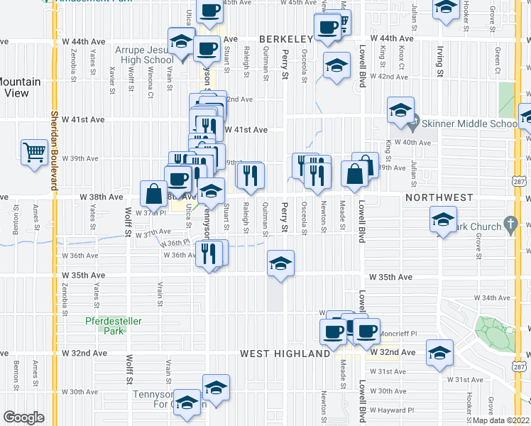 map of restaurants, bars, coffee shops, grocery stores, and more near 3717 Quitman Street in Denver