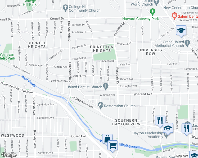 map of restaurants, bars, coffee shops, grocery stores, and more near 1114 West 2nd Street in Dayton