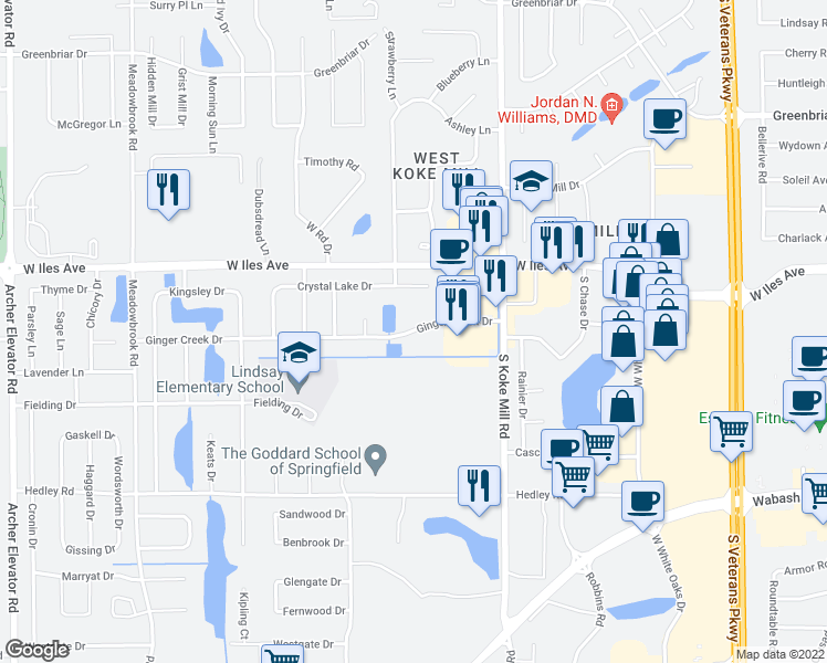 map of restaurants, bars, coffee shops, grocery stores, and more near 3319 Ginger Creek Drive in Springfield