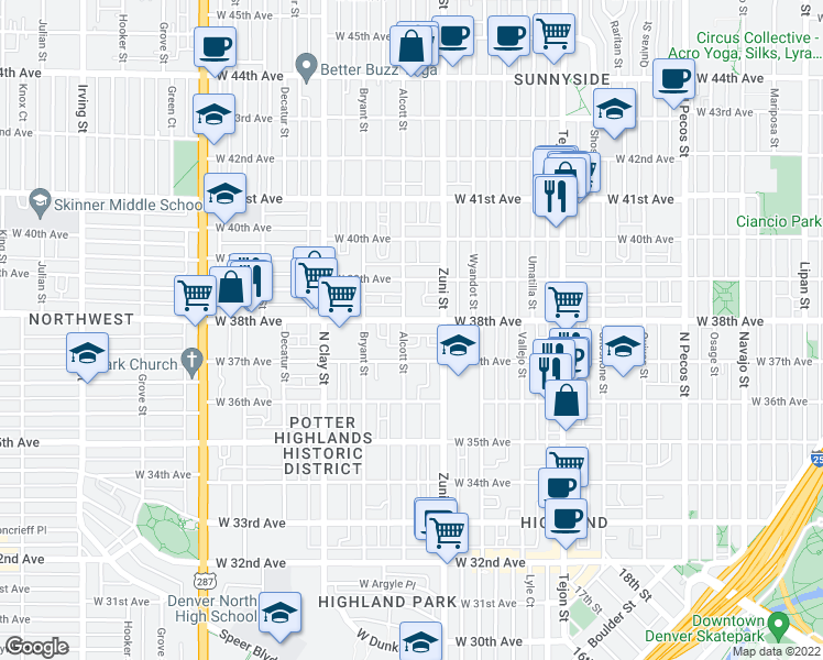 map of restaurants, bars, coffee shops, grocery stores, and more near 2450 West 38th Avenue in Denver
