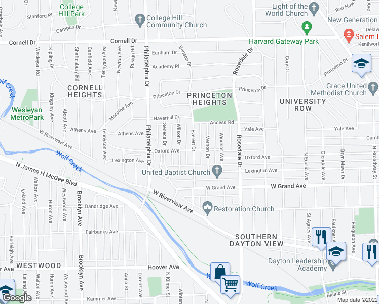 map of restaurants, bars, coffee shops, grocery stores, and more near 1141 Everett Drive in Dayton