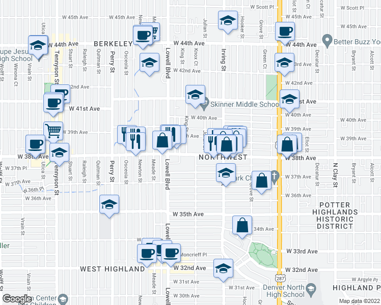 map of restaurants, bars, coffee shops, grocery stores, and more near 3455 West 38th Avenue in Denver