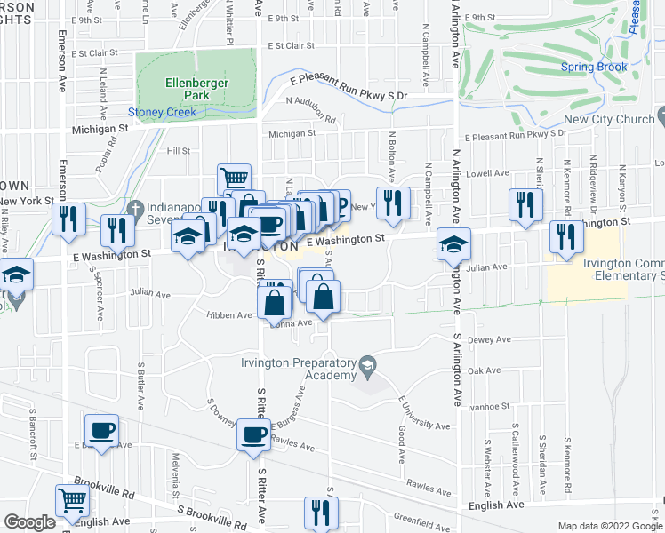 map of restaurants, bars, coffee shops, grocery stores, and more near 55 South Audubon Road in Indianapolis