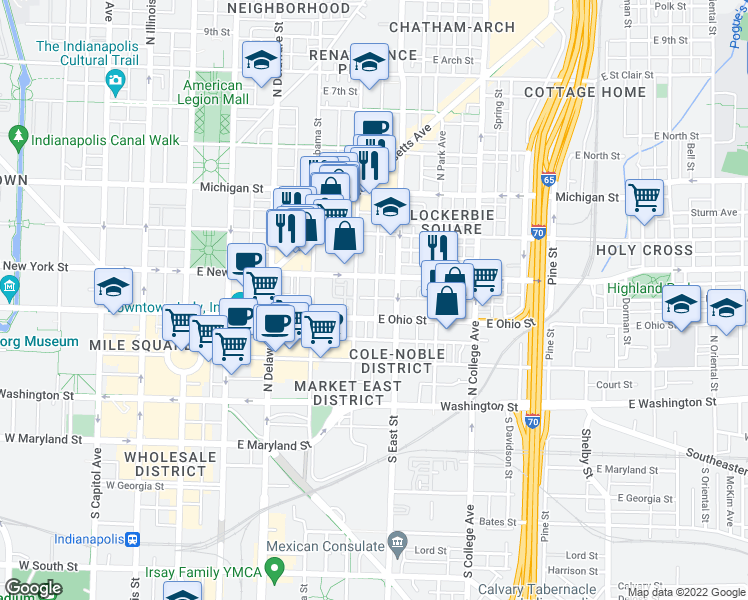 map of restaurants, bars, coffee shops, grocery stores, and more near 226 North Cleveland Street in Indianapolis